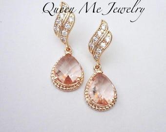 Gold Champagne earrings Peach wedding earrings Bridal Bridesmaids earrings Sterling posts Teardrops Blush wedding Jewelry OUTSTANDING -