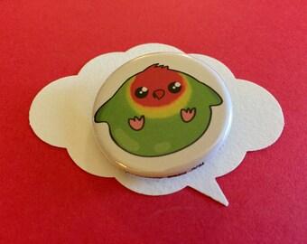 cute lovebird pin   chubby birb button