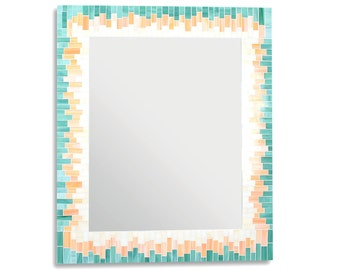 Orange and Green Stained Glass Mosaic Tile Rectangular Mirror in 4 Sizes