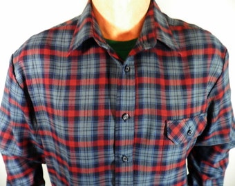 Vintage Dark Blue & Red Plaid Shirt  by ShirtMaster  Size XL