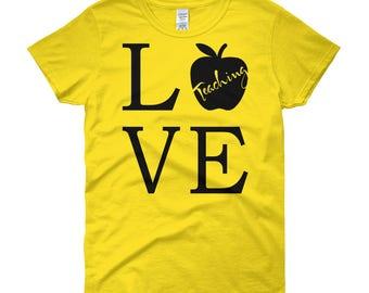 Teacher Shirt / Love Teaching / Apple / Teacher's Gift / Gifts for Professor / Women's / short sleeve / t-shirt