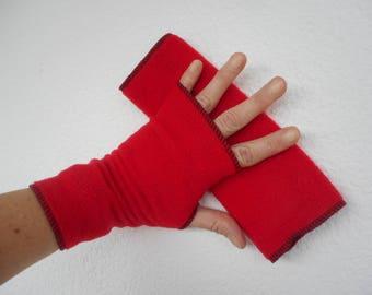 knit fingerless mittens red fleece linen ' eva creation