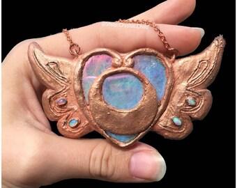 Sailor Moon Brooch • Copper Pendant • Angel Aura • Ethiopian Opal