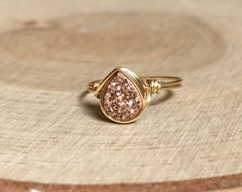 Rose Gold Druzy Ring, Druzy Ring, Peacock Druzy Wire Wrapped Jewelry Handmade Ring, Druzy Ring, Rainbow Druzy Ring