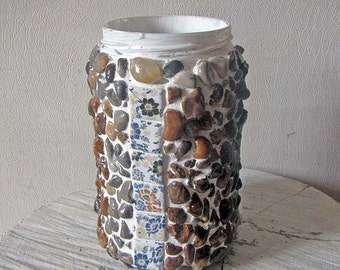 Glass jar upcycled with mosaic to new life