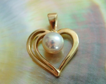 Cara - Freshwater Pearl Pendant, heart pendant, gold pearl pendant, June birthstone, sweet sixteen jewelry, pearl jewelry, gift, woman, teen