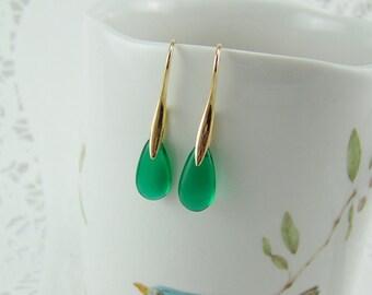 Emerald Briolette Earrings, Emerald Teardrop Earrings, May Birthstone, St. Patrick's Earrings, Green Glass Drops, Czech Glass Drop Earrings
