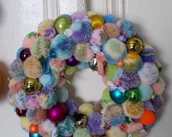 Easter or Spring-time pompom wreath. 350mm diameter.