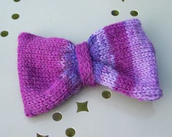 Purple wool bow clip