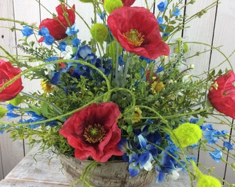 Texas wild flowers, Summer Arrangement,4th of July Centerpiece,Americana centerpiece,Patriotic decor, patriotic centerpiece,USA arrangement