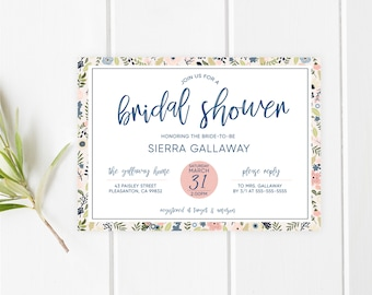 Bridal Shower Invitation, Bridal Shower Invitation Floral, Bridal Shower Invitation Printable, Blush and Navy Bridal Shower Invitation [697]