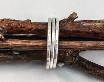Set of 3 delicately hammered sterling Silver stackable rings