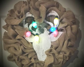 Deer Head Burlap Wreath with Lights