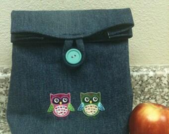Little Owls Denim Lunch Sack