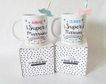 2 Mugs custom gifts for a super godparents super