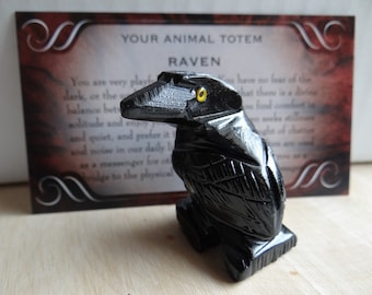 Hand Carved *BLACK ONYX RAVEN* Animal Spirit Totem for Spiritual Jewelry or Crafts