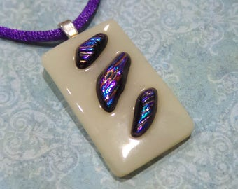 Beige Pendant with Purple and Blue Accents, Colorful Dichroic Necklace, Fused Glass Jewelry, Ready to Ship - Paradise Power -1940-2
