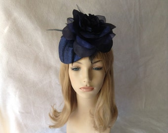Navy Derby Hat for races,navy blue wedding fascinator,derby hats for ladies,navy fascinator,Navy blue Kentucky derby hat,Mother of the Bride