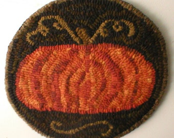 Primitive Folkart Lg Pumpkin Hooked Rug PATTERN ONLY