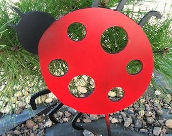 Metal Lady Bug Stake Yard Decoration - Garden Decor - Outside Decoration