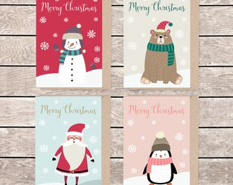 A6 christmas card set, set of 4, A6 christmas card, A5 greeting card, illustrated christmas card, blank christmas card, card and envelope