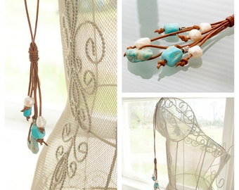 Long Leather Necklace - Genuine Turquoise Necklace - Pearl and Turquoise Necklace - Turquoise Boho Jewelry - Boho Necklace -  Gift For Her