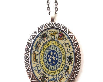 Zodiac Necklace Pendant Silver Tone - Horoscope Occult Astrology Astrological