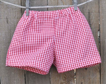 Boys Gingham shorts or pants, red and white gingham, many colors, Easter Shorts, beach...3m,6m,9m,12m,18m,2t,3t,4t,5,6,7,8,10,12