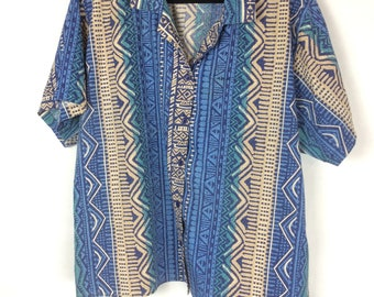 Vintage 70s Blouse Native American Print Women's Size 20W Act III Short Sleeve Button Up Plus Size