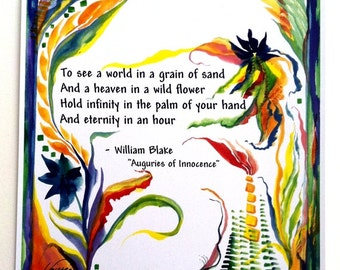 To See A World WILLIAM BLAKE Inspirational Quote Yoga Meditation Motivational Print ZEN Spiritual Poetry Heartful Art by Raphaella Vaisseau