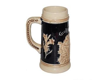 Vintage German Tan Stoneware Beer Stein