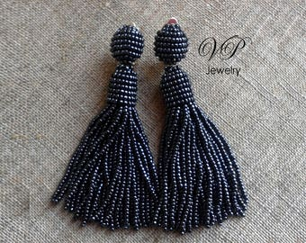 Stunning Handmade Beaded Hematite Tassel Clip on Earrings à la Oscar de la Renta