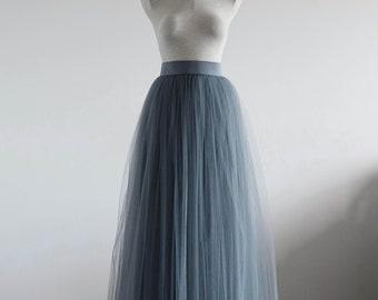 Gray maxi tulle skirt. Maxi tulle skirt.Woman tulle skirt. Bridesmaid tutu skirt. Maxi tutu skirt. Bridal tulle skirt. Wedding tulle skirt.