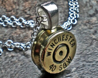 40 Smith and Wesson Winchester Brass Bullet Pendant Steampunk Trendy Fashion