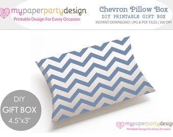 Chevron Pillow Box DIY Printable Gift Box - Light Blue Chevron Favor Box For Wedding, Baby Shower, Party- Gift for Guests- Instant Download