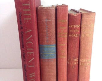 Antique Vintage Book Lot Red Hardcovers Decorative History Room Statement
