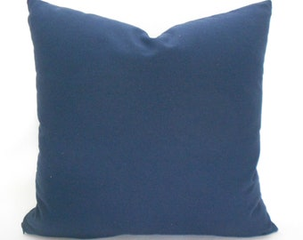 Navy Blue Pillow Covers ANY SIZE Decorative Pillow Cover Navy Pillow Carr Brushed Canvas Solid Navy Blue