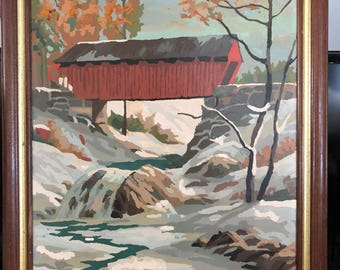 Covered Bridge Paint by Number 16 x 20 oil painting Autum Freeze by Craft Master FREE SHIPPING