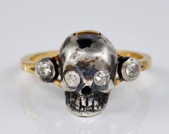 Victorian Memento Mori Diamond Skull Rare Poison ring