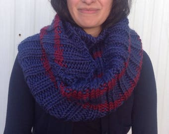 Handknit infinity scarf warm and cozy in navy with dark red stripe