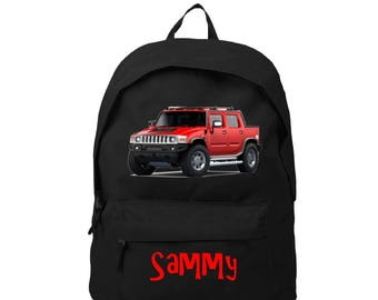 Black backpack car personalized with name