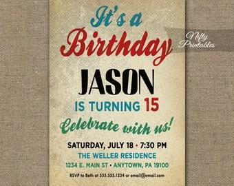 Printable Birthday Invitations For Boy ~ Teen birthday invitations mint confetti birthday party