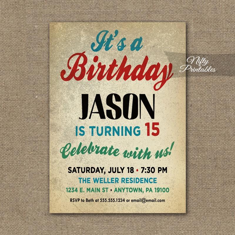 Teen Boy Birthday Invitations Boys Birthday Party Invitation