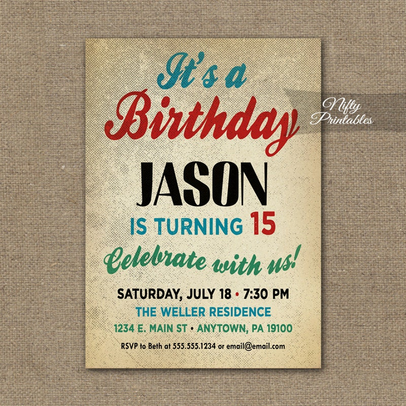 Teen Boy Birthday Invitations Boys Birthday Party Invitation