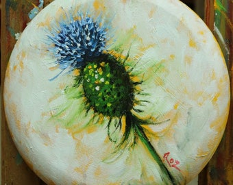Floral painting 256 12 inch round original still life thistle oil painting by Roz