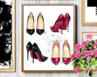 Christian Louboutin, Christian Louboutin shoes, Christian Louboutin heels, Fashion shoes print, Shoes art, Shoes print, Fashion illustration