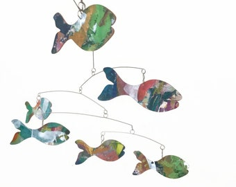 Fish Mobile Art So Ugly Its Cute READY TO SHIP Kinetic Art Mobile Sculpture by Carolyn Weir - Perfect for your She Shed