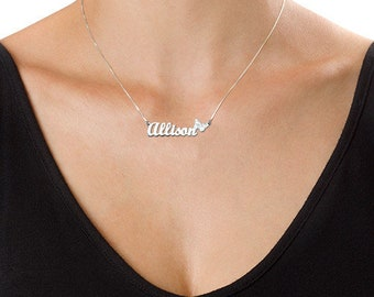 Delicate Sterling Silver Butterfly Name Necklce
