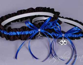 Thin Blue Line Police Officer Wedding Garter Set in Royal Blue and Black Satin with Swarovski Crystals and Handcuff Charms