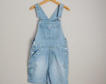 vintage 90s denim jean oversized shortalls -- womens small medium